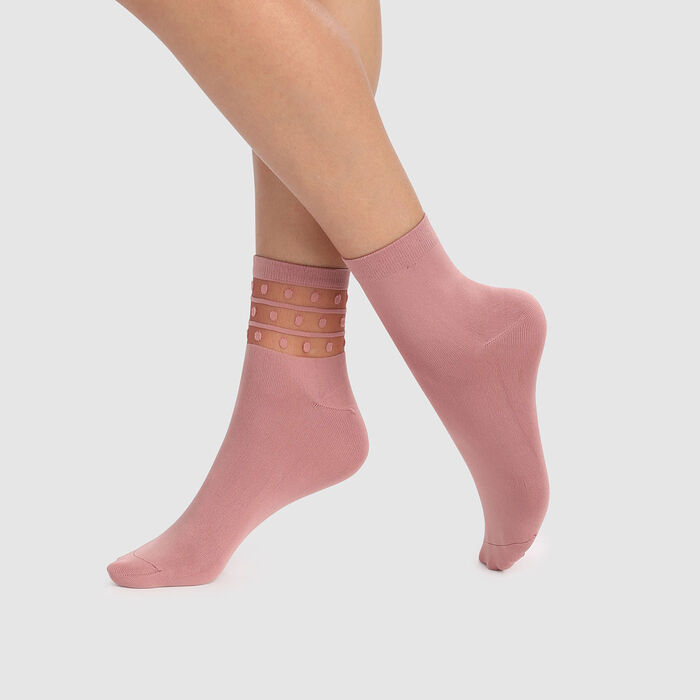 Skin Dots 2 pack  microfiber ankle socks in pink with mesh insert, , DIM