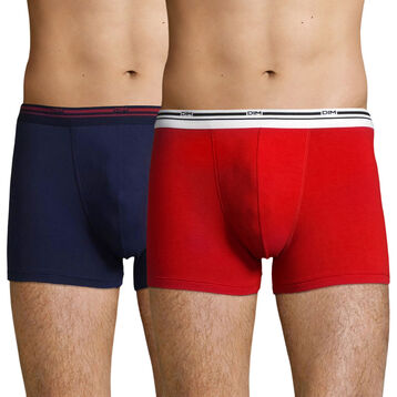 2 Pack stretch cotton trunks Lava Red and Denim Blue Daily Colors, , DIM
