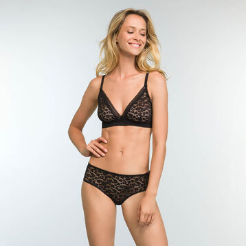Shorty en dentelle noire pour femme et à motifs Leopard Line, , DIM