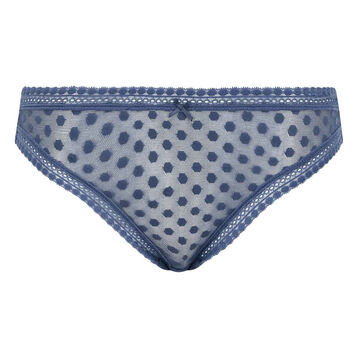 Porcelain blue polka dots brief Dotty Mesh Panty Box, , DIM