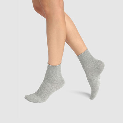 Cotton Style pack of 2 pairs of ankle socks in grey cotton and silver lurex , , DIM