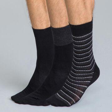 Chaussettes noires imprimées rayures en coton Homme-DIM