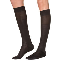 Black lisle knee highs for men, , DIM