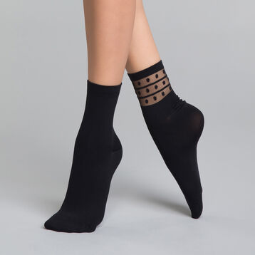 2 pack black and polka dots socks - Dim Skin Fancy, , DIM