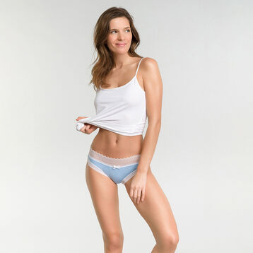 Lot de 2 boxers dentelle Femme bleu doux et skin pêche - Sexy Fashion, , DIM