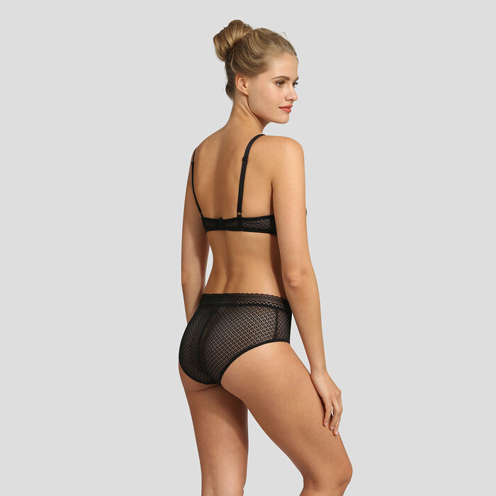 Dim Résille Chic high-waisted black lace brief, , DIM