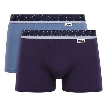 Lot de 2 boxers bleu jean et violet velours et ceinture à pois Mix & Dots, , DIM