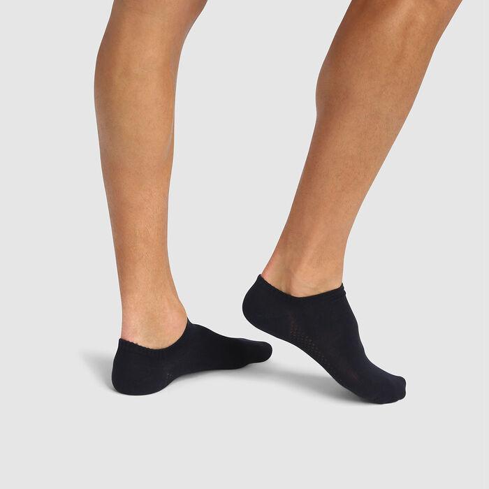 Lot de 2 paires de chaussettes hommes basses viscose Bleu Bambou, , DIM