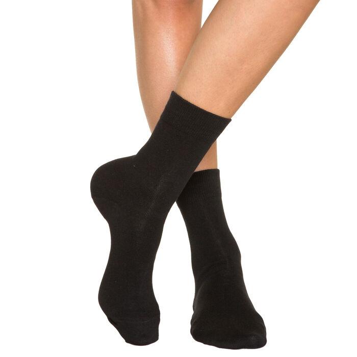 Lot de 2 paires de chaussettes noires Femme Pur Coton, , DIM