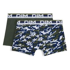 Set of 2 Eco DIM Boy military green and camouflage-print boxers - DIM