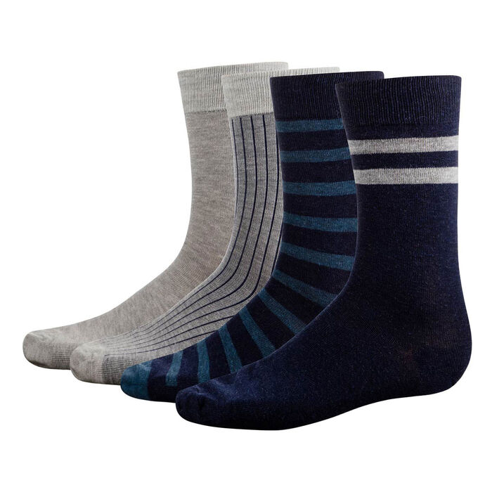 4 pack Men's socks in Heather Grey and Denim Blue Eco Dim, , DIM