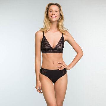Black Lace and Microfiber Triangle Bra Sublim Fashion, , DIM