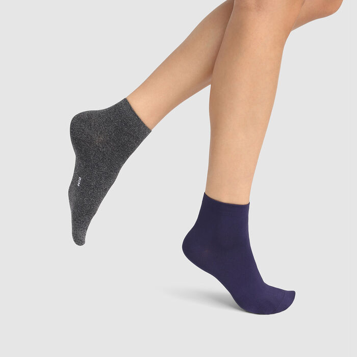 Dim Skin pack of 2 pairs of women's microfibre ankle socks Blue Dark Heather Grey, , DIM