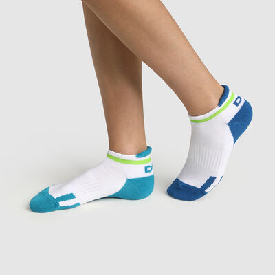 Pack de 2 pares de calcetines bajos para niña retro azul y verde Dim Sport, , DIM