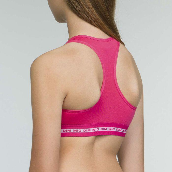 Dim girls' red cotton stretch sports bra Passion Box, , DIM