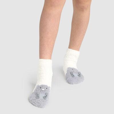 Non-slip 3D Ivory marmot pattern Kids Cocoon Sock, , DIM