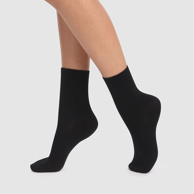 Green 2 pack ankle socks in black lyocell cotton, , DIM