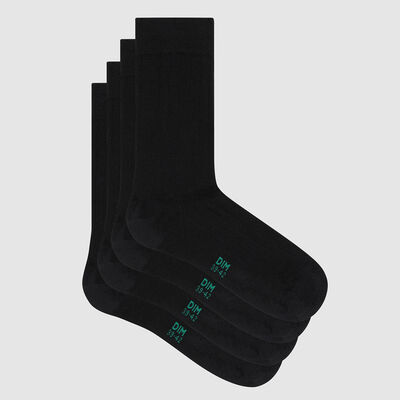 Pack of  2 pairs of men's black lyocell ribbed socks Green by Dim, , DIM