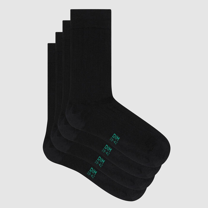 Pack of  2 pairs of men's black lyocell ribbed socks Green by Dim, , DIM