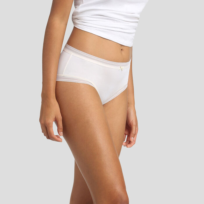Pearly white microfiber shorty Dim Panty Box, , DIM