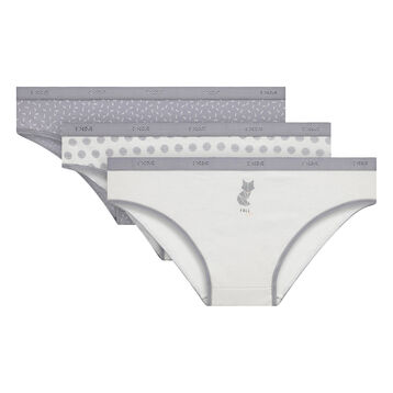 3 Pack  Les Pockets Grey Fox stretch cotton briefs, , DIM