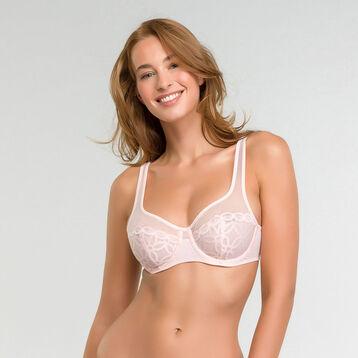 Lace pink underwired bra  - Generous MOD, , DIM
