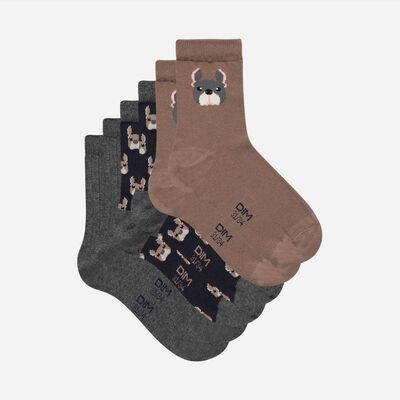 Pack of 3 Pairs of Kids Dog Cotton Socks, , DIM
