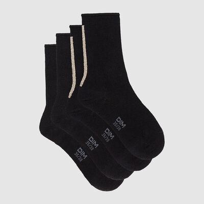 Набор 2шт.: Черные носки из модала с золотистым люрексом Dim Modal, , DIM