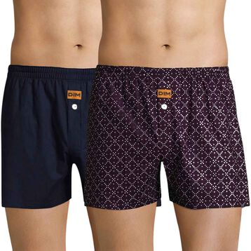 Set of 2 DIM cobalt blue and dark purple boxer shorts - DIM
