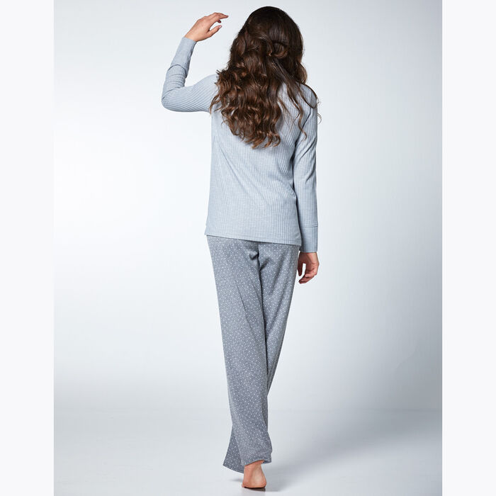 Women's pyjama set Grey with polka dots and stripes, , DIM