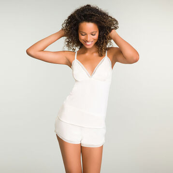 Pearly white pyjama shorts in modal cotton Softly Line, , DIM