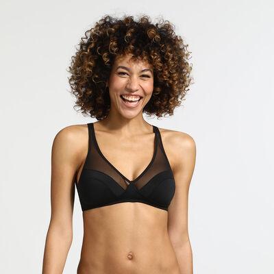 Generous Dim underwire push-up bra black, , DIM