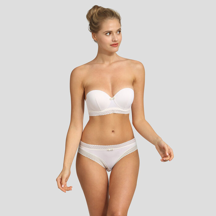 Pearly white padded strapless bra Dim Trendy Micro, , DIM