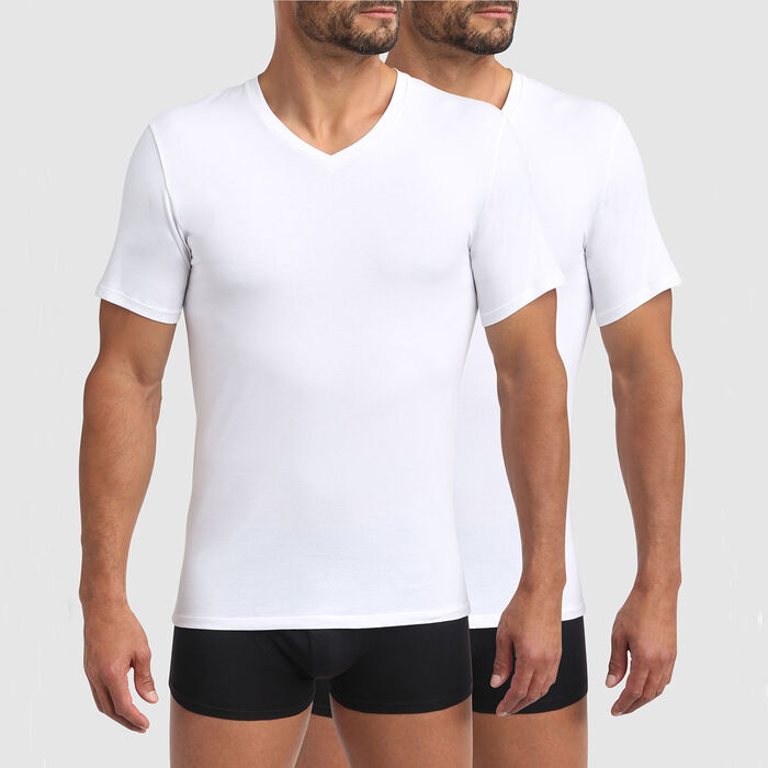 Green by Dim pack of 2 men's organic cotton V-neck t-shirts in white, , DIM