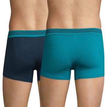 Lot de 2 boxers vert et bleu - Soft Touch Pop, , DIM