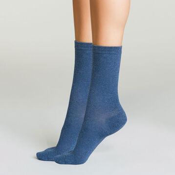 Lot de 2 paires de chaussettes femme Bleu Marine Bleu Jean Basic Coton, , DIM