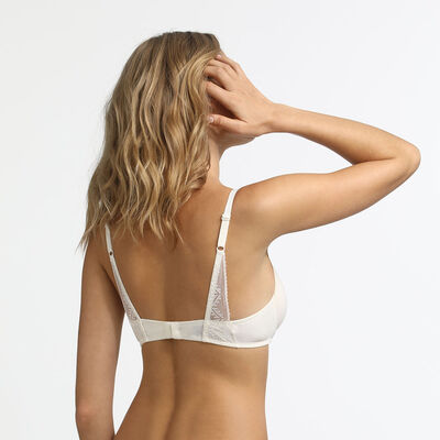 Dim Clair-Obscur Mother-of-pearl lace and microfibre balconette bra, , DIM