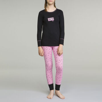 DIM Girl 2-piece long-sleeved pyjama pack Black and Pink Gaming Style, , DIM