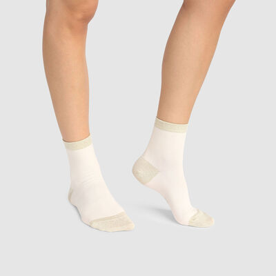 Cotton Style women's ivory brushed cotton and gold lurex ankle socks, , DIM