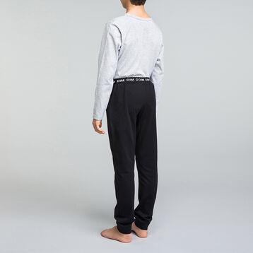 Mottled grey and black pyjama set for boy - Nuit Comic, , DIM