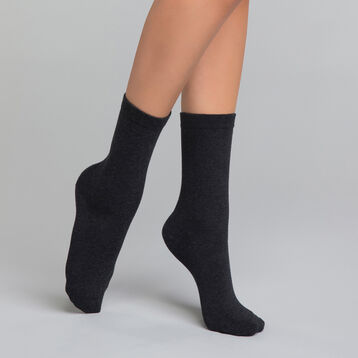 Dark grey women's socks in cotton - Dim Basic Coton, , DIM