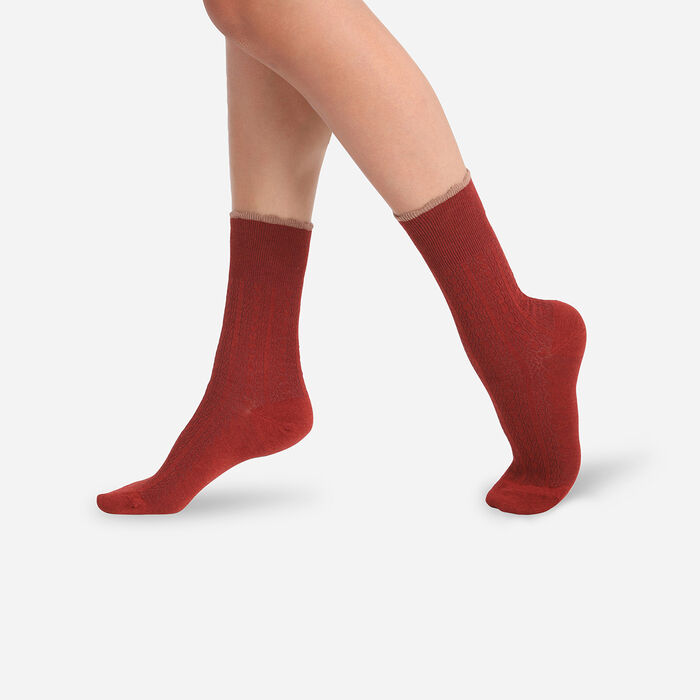 Dim Women's wool socks with fancy top band in Cardinal Red colour, , DIM