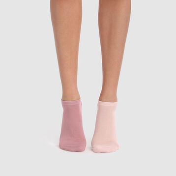 Basic Cotton 2 pack  ankle socks in bubblegum pink, , DIM