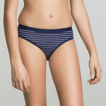 3 pack navy blue and printed Dim Girl briefs - Box Japon, , DIM