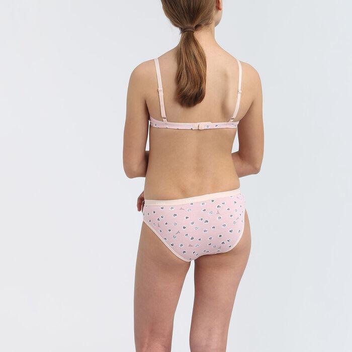 Lot de 3 culottes fille coton stretch motif coeur Rose Les Pockets, , DIM