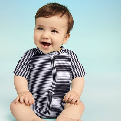 Zipped romper in cotton stretch with white and dark grey stripes Dim Baby, , DIM