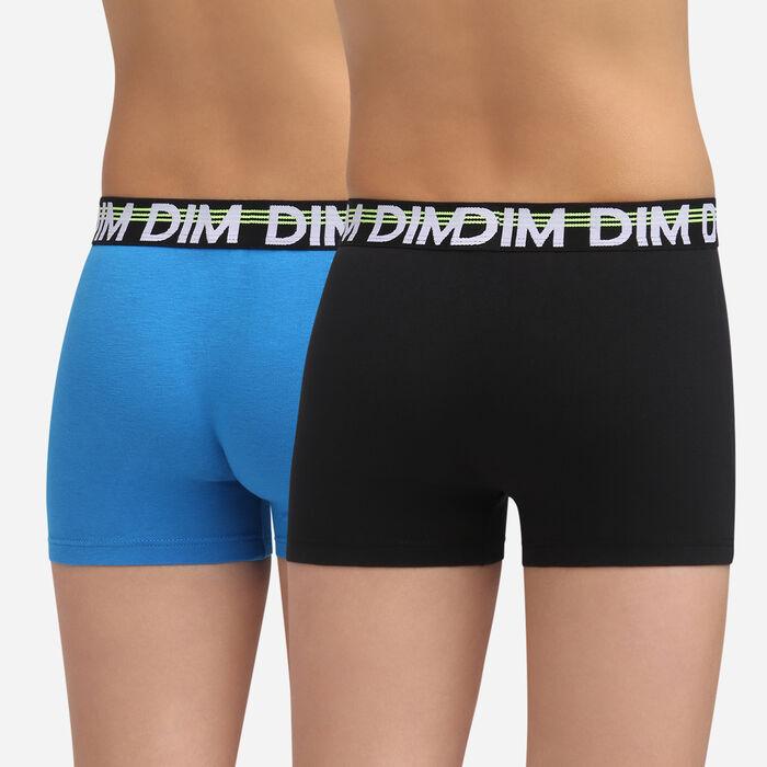 2 pack black and navy stretch cotton trunks Dim Boy Eco Dim 3D, , DIM