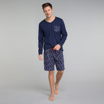 Long sleeves navy blue t-shirt with printed front pocket - Fashion, , DIM