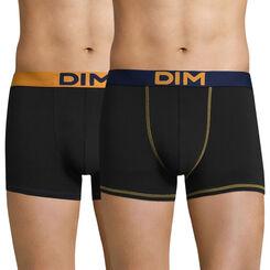 Lot de 2 boxers noirs ceintures jaune  bleue Mix and colors-DIM