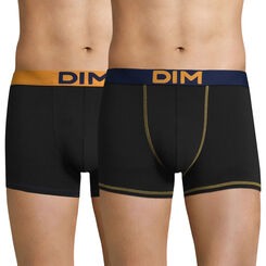 Lot de 2 boxers noirs ceintures jaune  bleue Mix and colors-DIM